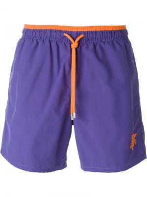 Плавательные шорты с контрастным поясом Vilebrequin. Цвет: розовый и фиолетовый