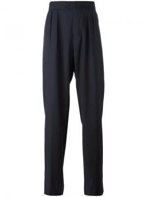 Плиссированные широкие брюки Raf Simons. Цвет: синий