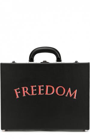 Кожаный портфель с надписью Freedom Bertoni. Цвет: черный