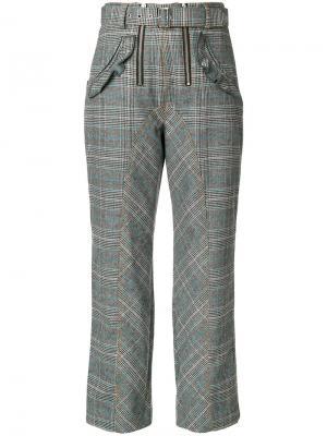 Укороченные брюки в клетку Self-Portrait. Цвет: серый