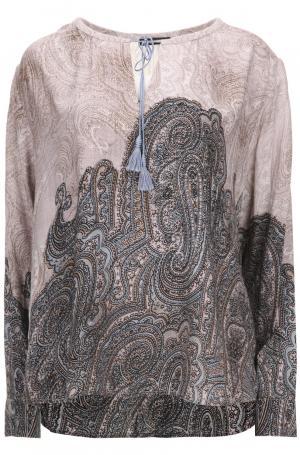 Блуза свободного кроя на завязках и принтом пейсли Punt Roma