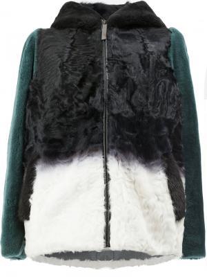 Куртка с капюшоном дизайна колор-блок Maison Ullens. Цвет: чёрный