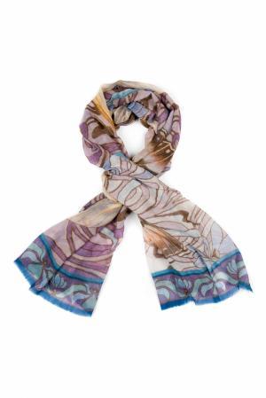 Кашемировая шаль «Бабочки» Gourji. Цвет: голубой