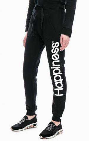 Черные брюки джоггеры с карманом-кенгуру Happiness. Цвет: черный