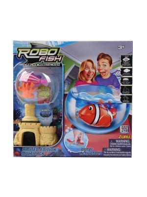 РобоРыбка с 2 кораллами, замком и  аквариумом ZURU. Цвет: прозрачный, оранжевый