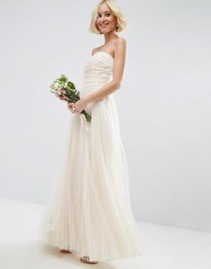 ASOS Edition Сетчатое платье‑бандо макси со сборками BRIDAL. Цвет: белый