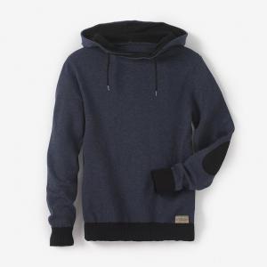 Пуловер с капюшоном, 10-16 лет R pop. Цвет: синий меланж