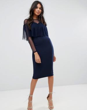 ASOS Облегающее платье миди с отделкой из ткани добби и длинными рукавами A. Цвет: темно-синий
