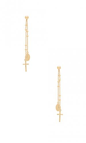 Свисающие серьги miraculous Natalie B Jewelry. Цвет: металлический золотой