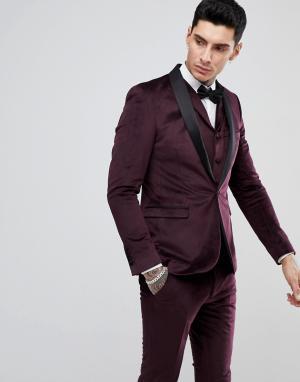 RUDIE Бархатный пиджак-смокинг узкого кроя. Цвет: красный