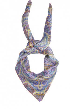 Шелковый платок с принтом Michele Binda. Цвет: оранжевый