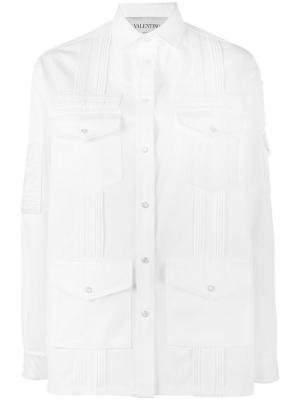 Джинсовая куртка с вышивкой Valentino. Цвет: белый