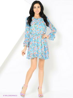 Платье в крупный цветок голубое MONOROOM