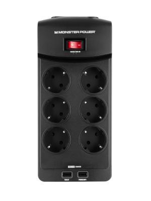 Сетевой фильтр Monster Core Power 600 USB (MP EXP 600U). Цвет: черный