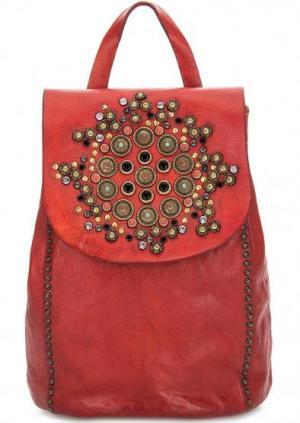 Кожаный рюкзак с металлическим декором Campomaggi. Цвет: красный