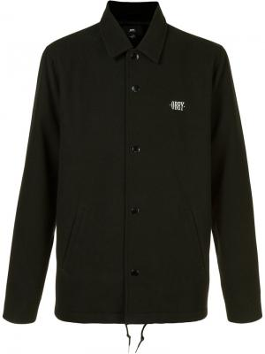 Куртка с вышитым логотипом Obey. Цвет: чёрный