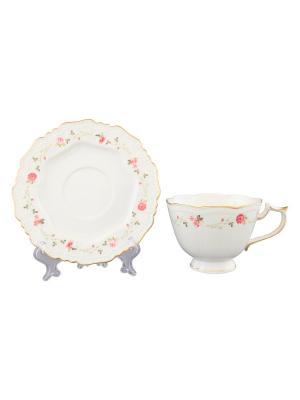 Чайная  пара Нежные розы Elan Gallery. Цвет: белый, розовый