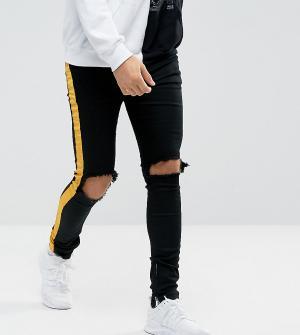 Sixth June Черные обтягивающие джинсы с желтыми полосами. Цвет: черный