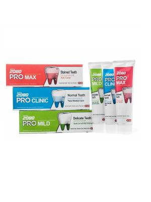 Набор Зубные пасты Dental Clinic 2080 PRO, Профессиональная защита полости рта 3 штуки. Цвет: голубой, зеленый, красный