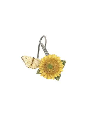 12 крючков для душевой шторки WMSWSUN007R Sweet Sunflowers Walmart  Blonder Home. Цвет: желтый