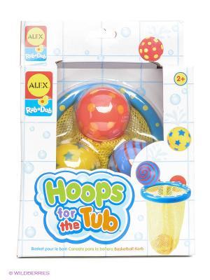 Игрушки для ванны Мячики в сетке 4 предмета от 3 лет Alex. Цвет: желтый, голубой