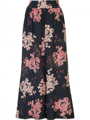 Укороченные брюки с цветочным принтом Rebecca Taylor. Цвет: синий