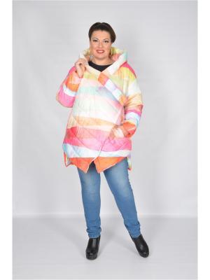 Пальто Стильная геометрия Happiness. Цвет: оранжевый, розовый