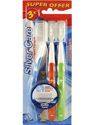 Набор зубных щёток Silver Care Plus  жест.. Цвет: белый, голубой, красный