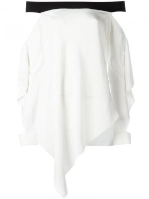 Топ с открытыми плечами и драпировкой Roland Mouret. Цвет: белый