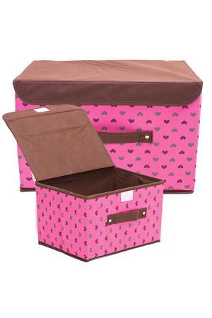 Комплект коробочек д/хранения HOMSU. Цвет: розовый,