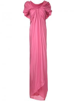 Длинное платье с драпировкой Paule Ka. Цвет: розовый и фиолетовый