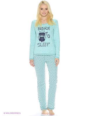 Утепленный комплект домашней одежды ( кофта, брюки) HomeLike. Цвет: светло-зеленый