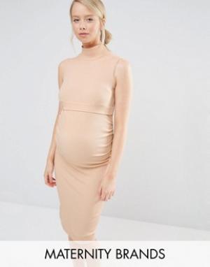 Bluebelle Maternity Платье миди в рубчик без рукавов для беременных. Цвет: бежевый