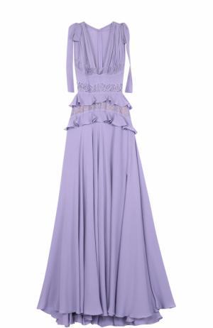 Шелковое платье-макси с подолом и кружевной отделкой Elie Saab. Цвет: светло-сиреневый