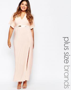 Club L Платье макси с боковым разрезом и ремнем Plus Size. Цвет: розовый
