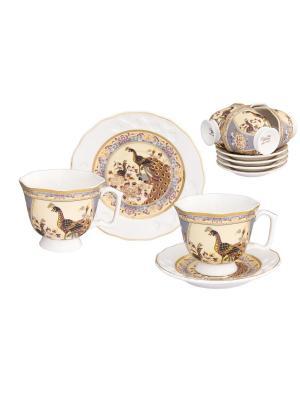 Кофейный набор Павлин на бежевом Elan Gallery. Цвет: бежевый, коричневый