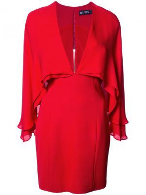 Платье с V-образным вырезом и рукавами-кейп Haney. Цвет: красный