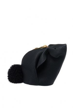 Кожаный кошелек для монет Bunny LOEWE. Цвет: черный