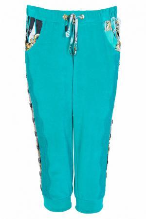 Укороченные спортивные брюки с карманами Elisa Fanti. Цвет: бирюзовый