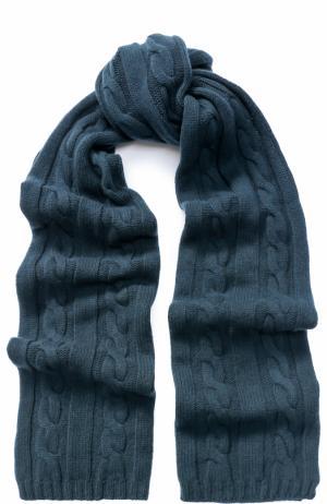 Шарф фактурной вязки из кашемира Kashja` Cashmere. Цвет: темно-зеленый
