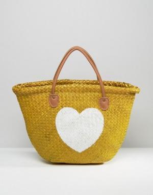 Hat Attack Соломенная сумка-тоут с изображением сердца. Цвет: бежевый