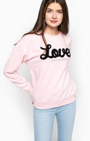Розовый свитшот с вышивкой Hilfiger Denim. Цвет: розовый