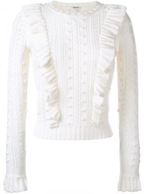 Вязаный свитер с оборками Manoush. Цвет: белый
