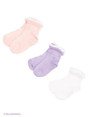 Носки, 3 пары Гамма. Цвет: белый, сиреневый