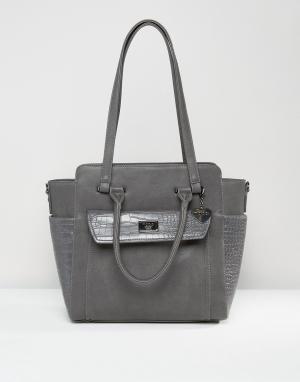 Marc B Структурированная сумка-тоут с боковыми вставками. Цвет: серый
