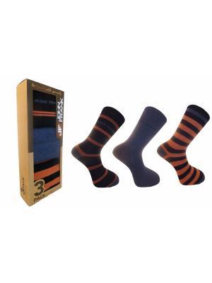 Носки мужские (3 пары) JOHN FRANK. Цвет: синий, оранжевый