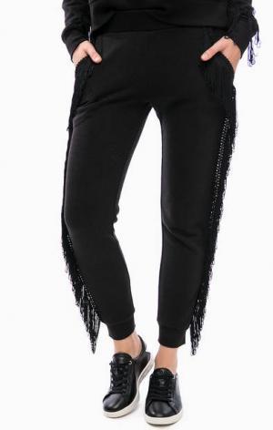 Черные брюки джоггеры с бахромой Juicy by Couture. Цвет: черный