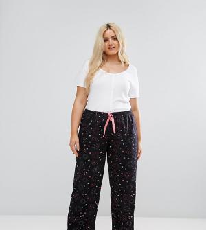 Yours Широкие пижамные штаны со звездами. Цвет: черный