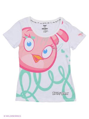 Футболка ANGRY BIRDS. Цвет: белый, зеленый, розовый