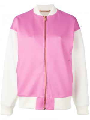 Куртка-бомбер  с контрастными рукавами Diesel. Цвет: розовый и фиолетовый